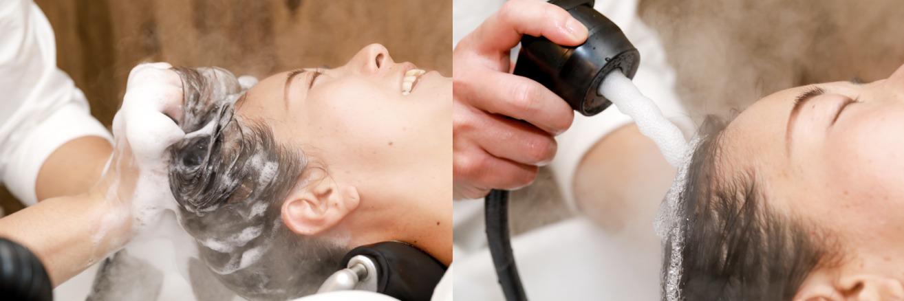 炭酸リンシング(頭皮・髪の汚れ落とし)